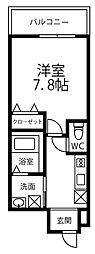 ドリーム フジ桜川 3階1Kの間取り