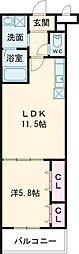 メナメゾン日根野II番館 3階1LDKの間取り