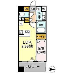 コンフォートレジデンス仙台東口 9階1LDKの間取り