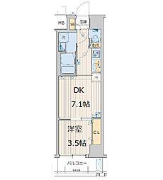 レオンコンフォート天王寺東 5階1DKの間取り