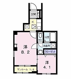 流山アパートA 1階1Kの間取り