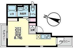 JR南武線 平間駅 徒歩9分の賃貸マンション 2階ワンルームの間取り