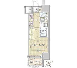東京メトロ南北線 白金高輪駅 徒歩9分の賃貸マンション 9階1Kの間取り