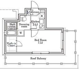 東急東横線 学芸大学駅 徒歩9分の賃貸マンション 5階1Kの間取り