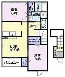 エテルノ 2階2LDKの間取り