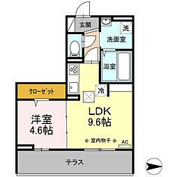 サニーコート 1階1LDKの間取り