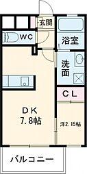 Studie 小倉離宮 (スタディコクラリキュウ) 7階1DKの間取り