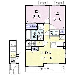 メゾン・ド・ソレイユ 2階2LDKの間取り