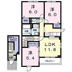 アウルハーモニーB 2階3LDKの間取り