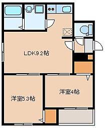 JR鹿児島本線 箱崎駅 徒歩11分の賃貸アパート 1階2LDKの間取り