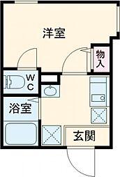 JR総武線 東中野駅 徒歩11分の賃貸アパート 3階1Kの間取り