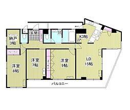 東京メトロ東西線 早稲田駅 徒歩13分の賃貸マンション 4階3SLDKの間取り