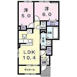 ラメール B棟 1階2LDKの間取り