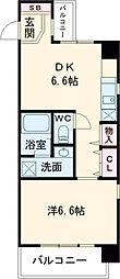 JR片町線(学研都市線) 住道駅 徒歩5分の賃貸マンション 6階1DKの間取り