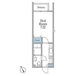 JR山手線 恵比寿駅 徒歩12分の賃貸マンション 3階1Kの間取り