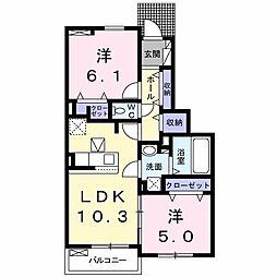 サニーガーデン 1階2LDKの間取り