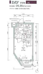 JR山手線 大崎駅 徒歩11分の賃貸マンション 1階1Kの間取り