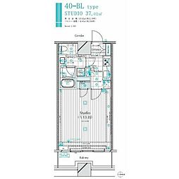 JR山手線 新宿駅 徒歩15分の賃貸マンション 8階1Kの間取り