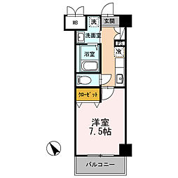 JR信越本線 長岡駅 徒歩16分の賃貸マンション 4階1Kの間取り