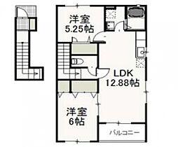 JR山陽本線 庭瀬駅 徒歩11分の賃貸アパート 2階2LDKの間取り