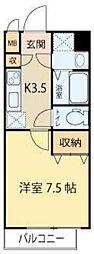 仙台市営南北線 愛宕橋駅 徒歩2分の賃貸マンション 6階1Kの間取り