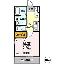 エスペランサ311 3階1Kの間取り