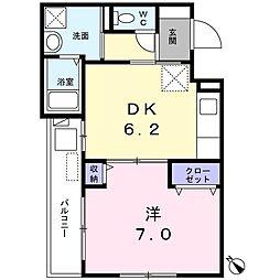 リマンベール 1階1DKの間取り