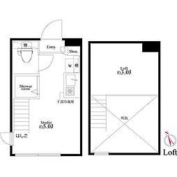 JR山手線 池袋駅 徒歩4分の賃貸アパート 2階ワンルームの間取り