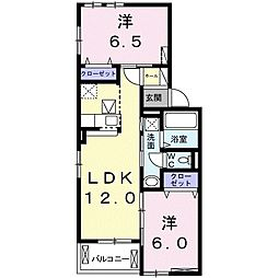神鉄三田線 五社駅 徒歩13分の賃貸アパート 1階2LDKの間取り