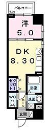 スカイハウス グランデ 8階1DKの間取り