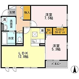 JR片町線(学研都市線) 住道駅 徒歩28分の賃貸アパート 1階2LDKの間取り