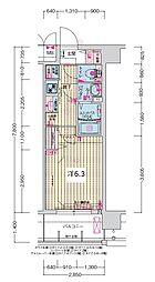 JR大阪環状線 森ノ宮駅 徒歩5分の賃貸マンション 9階1Kの間取り