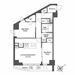 東急東横線 中目黒駅 徒歩5分の賃貸マンション 3階2LDKの間取り