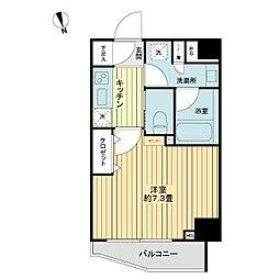 東急東横線 中目黒駅 徒歩7分の賃貸マンション 5階1Kの間取り