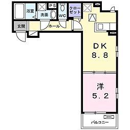 ジュネス 1階1DKの間取り