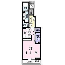 アルドーレ東合川 B 1階1Kの間取り