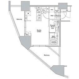京王井の頭線 渋谷駅 徒歩10分の賃貸マンション 2階ワンルームの間取り