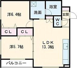 デイトナ 3階2LDKの間取り