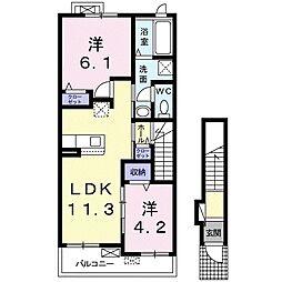 エスポワールK&LV 2階2LDKの間取り