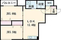 デイトナ 5階2LDKの間取り