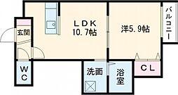 デイトナ 3階1LDKの間取り