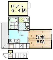 RIDERE井口 2階1Kの間取り