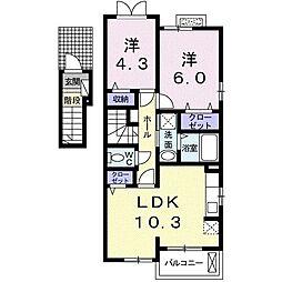 フィオーレ・芦刈II 2階2LDKの間取り