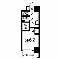 JR東西線 加島駅 徒歩7分の賃貸マンション 7階1Kの間取り