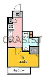 福岡市地下鉄七隈線 薬院大通駅 徒歩12分の賃貸マンション 4階1Kの間取り