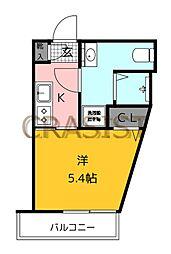 福岡市地下鉄七隈線 薬院大通駅 徒歩12分の賃貸マンション 1階1Kの間取り