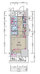 プレサンス名古屋幅下 ファビュラス 13階1Kの間取り