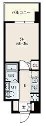 Osaka Metro御堂筋線 昭和町駅 徒歩12分の賃貸マンション 2階1Kの間取り