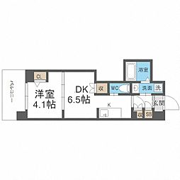JR阪和線 我孫子町駅 徒歩6分の賃貸マンション 9階1DKの間取り
