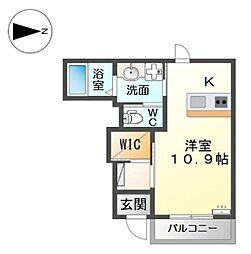 南海高野線 金剛駅 徒歩3分の賃貸アパート 1階ワンルームの間取り